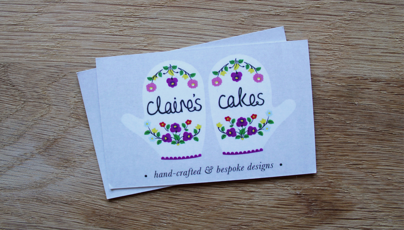 Claire's Cakes business card design by Me And You Create