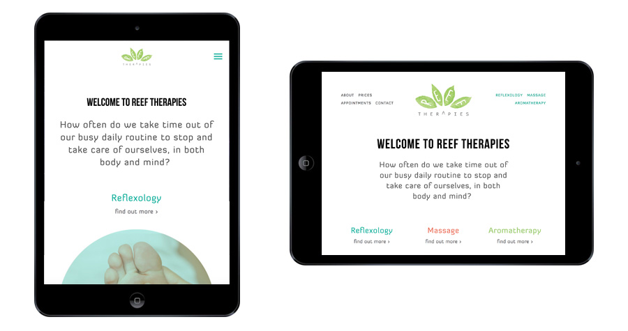 Me And You Create Reef Therapies Website Responsive Tablet